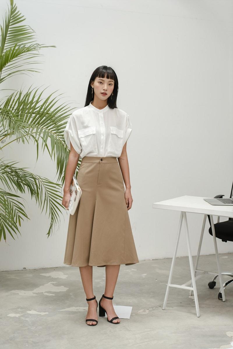 Twill Midi Skirt - Chân Váy Khaki Đuôi cá