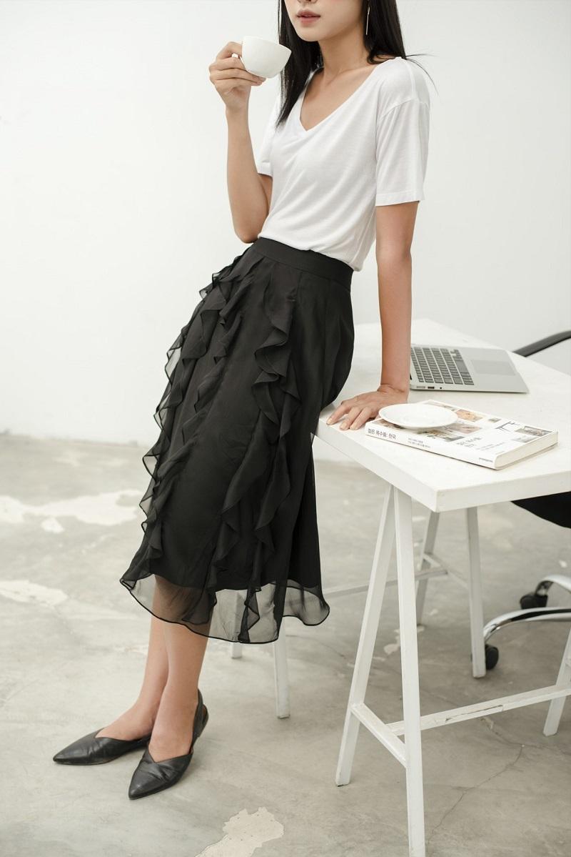 Midi Ruffle Skirt - Chân Váy Midi Bèo Dọc