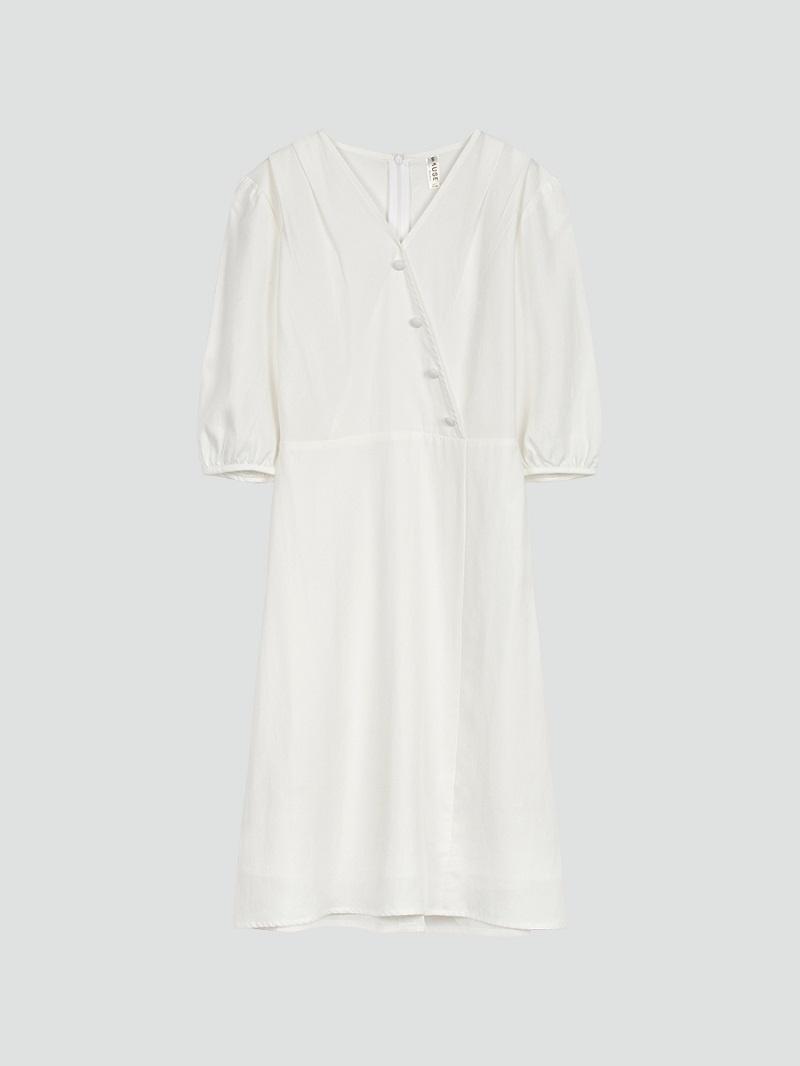 Đầm trắng chữ A cúc bọc ở ngực 3