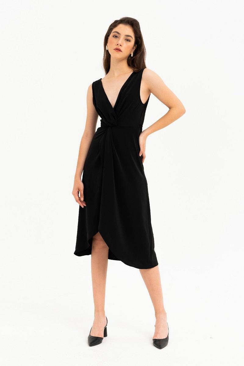 Deep V-neck Twisted Dress - Đầm Cổ Chữ V Khoét Sâu