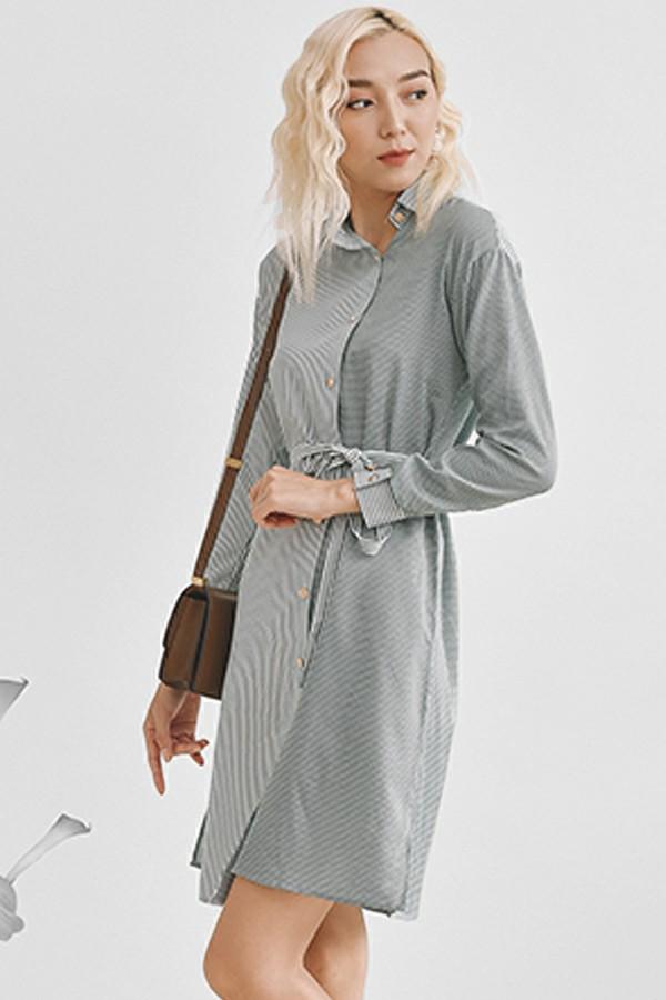Stripe Asymmetric Shirt Dress - Đầm Kẻ Xanh Phối Lệch
