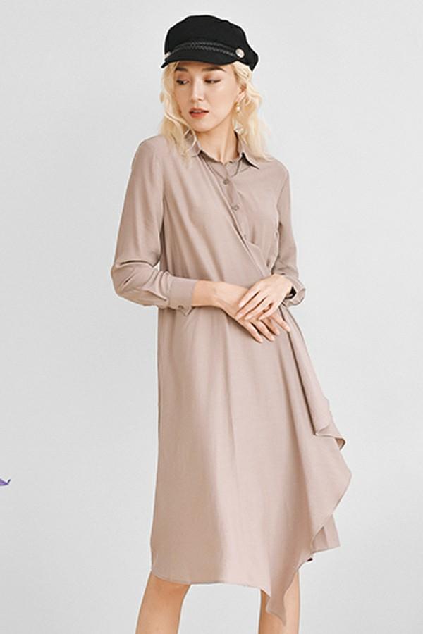 Đầm lụa cài cúc lệch 1