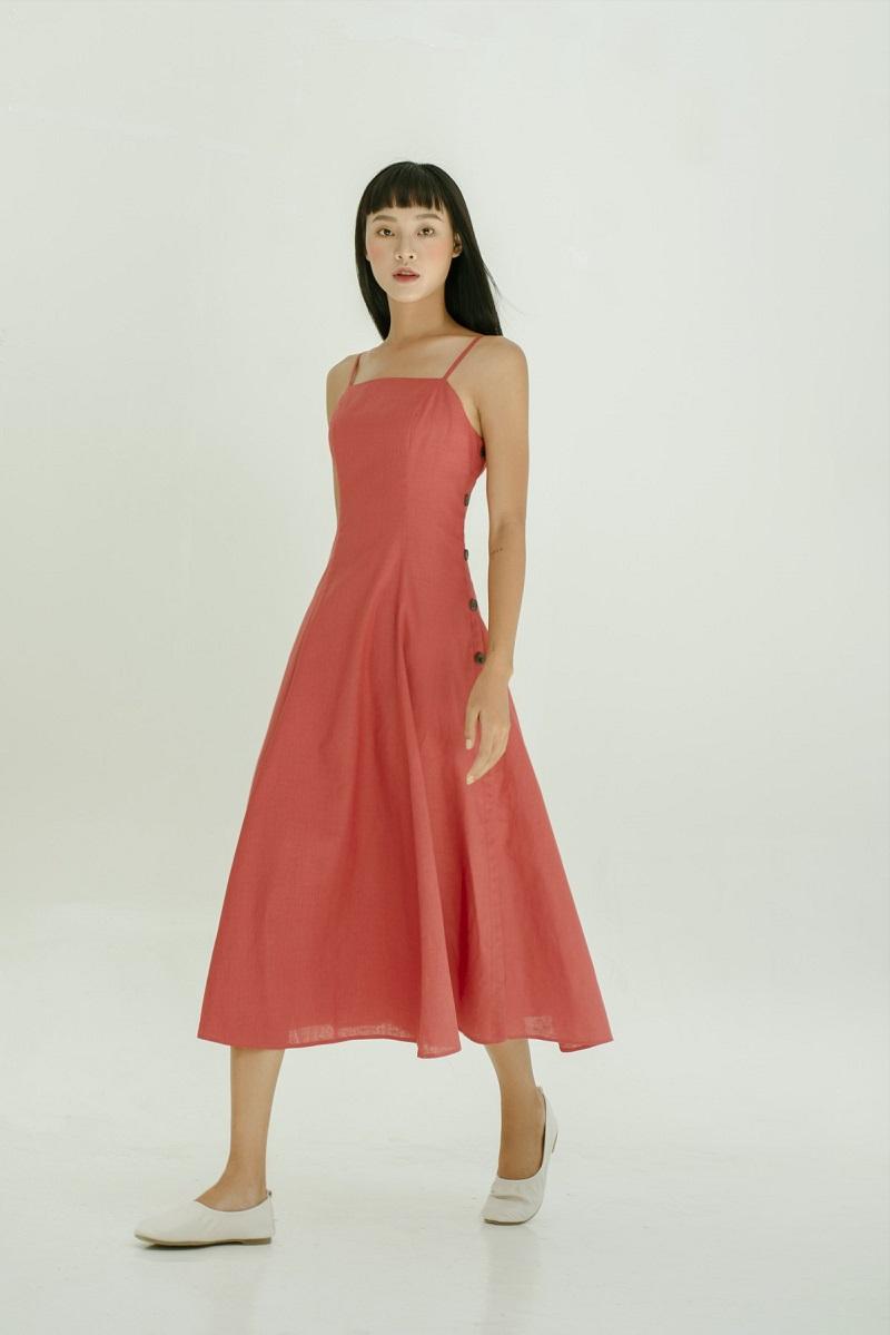 Đầm Maxi lanh hai hàng cúc 1