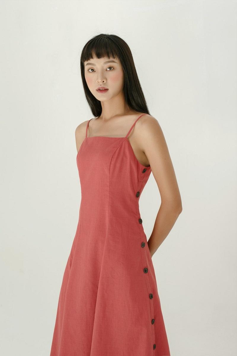 Đầm Maxi lanh hai hàng cúc  2