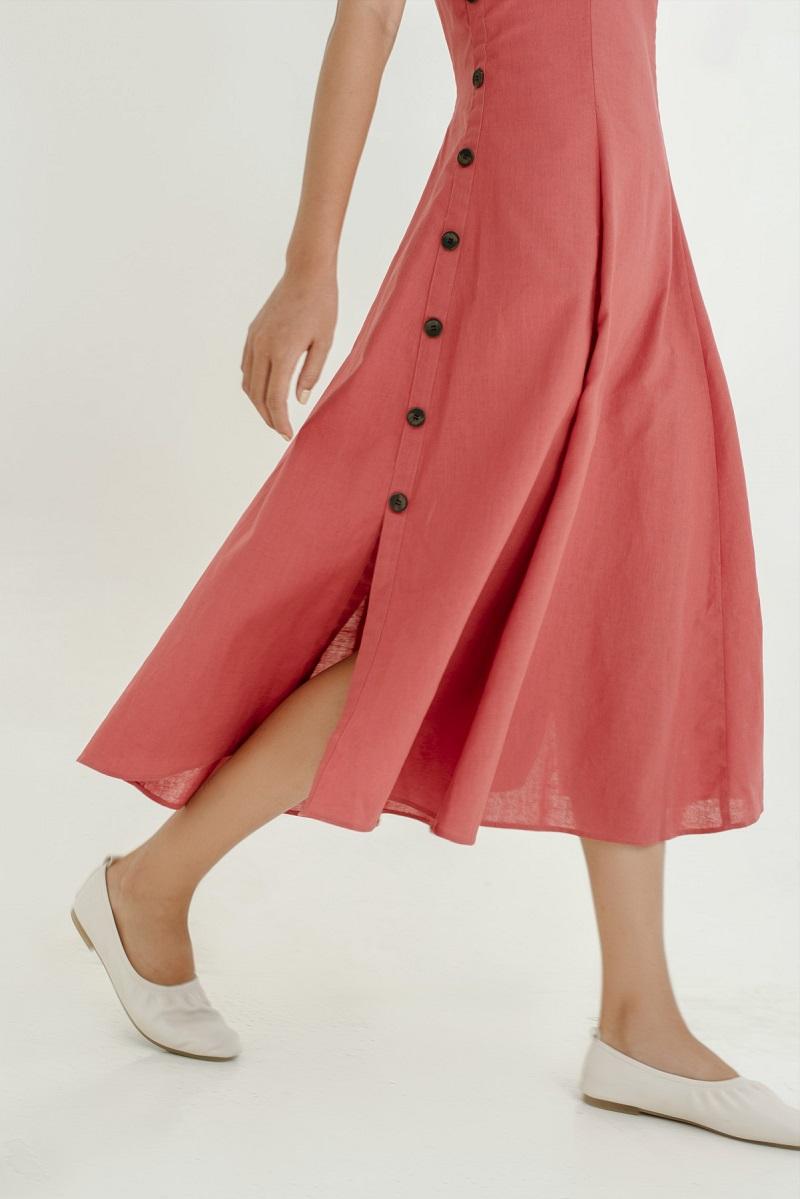 Đầm Maxi lanh hai hàng cúc  3