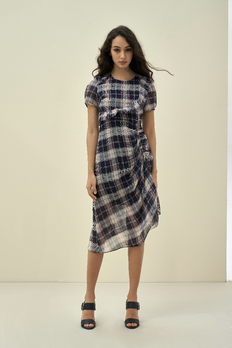 Ruffle Checked Midi Dress - Đầm Midi Kẻ Caro Xù