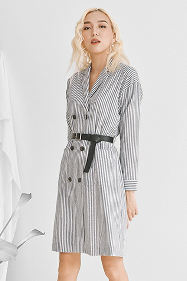 Striped Ribbon Banding Shirt Dress - Đầm Sơ Mi Cổ Ve