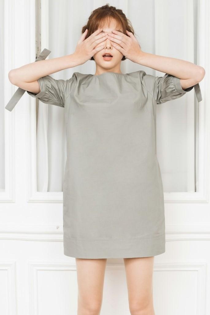 Thyme Green Mini Dress- Đầm Suông Tay Nơ