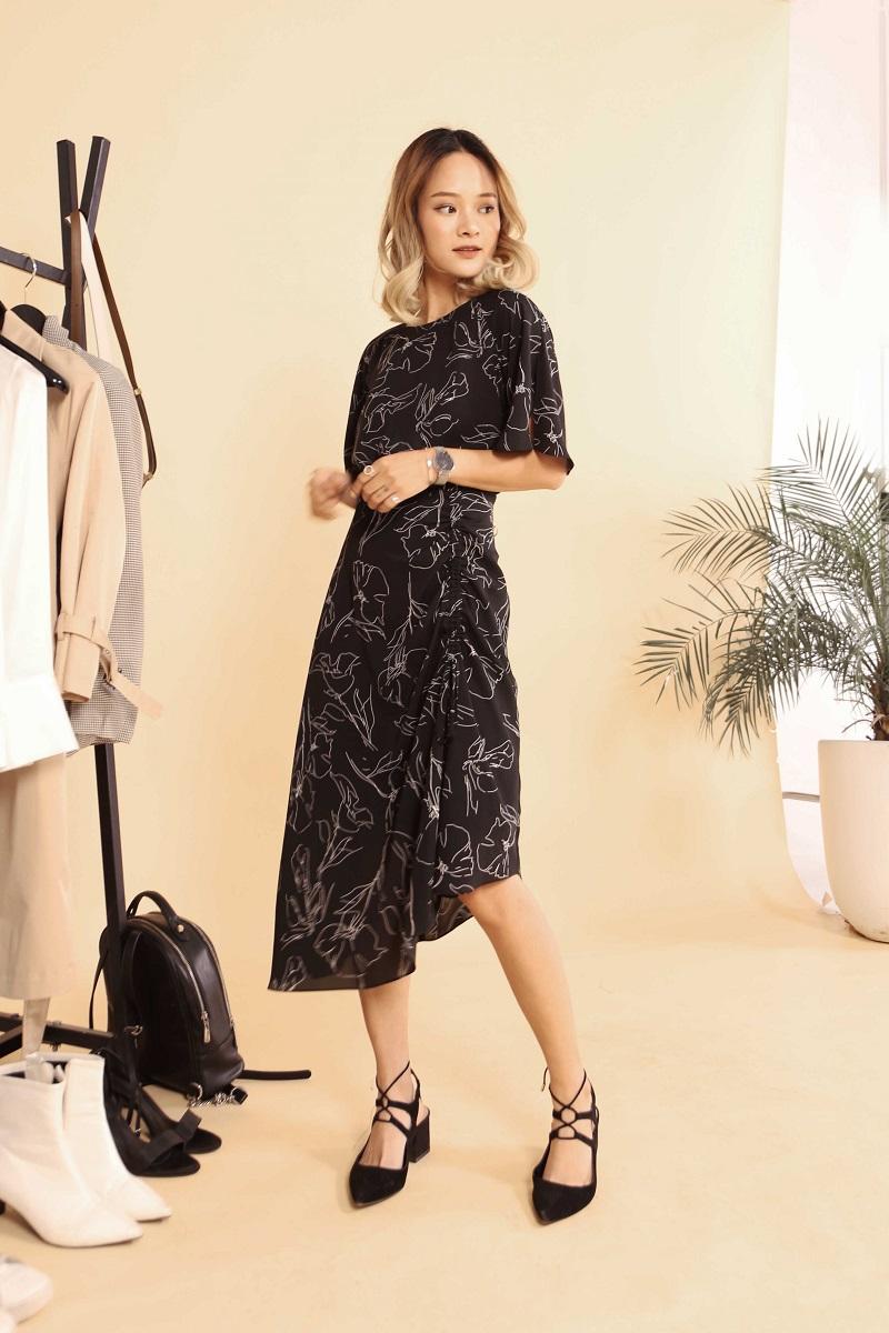 Ruffle Sleeve Pattern Dress - Đầm Tay Áo Dáng Xù