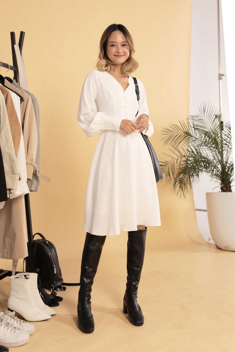 Raglan Sleeve Dress - Đầm Trắng