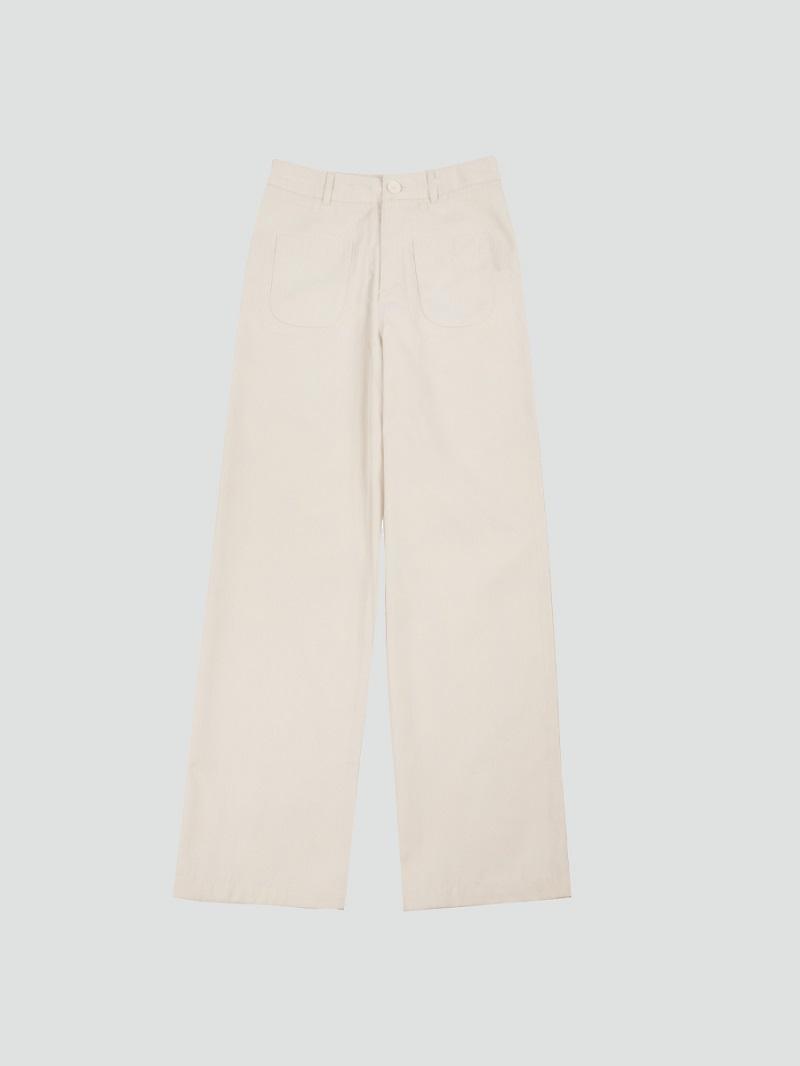 Quần khaki trắng cạp cao ống loe 3