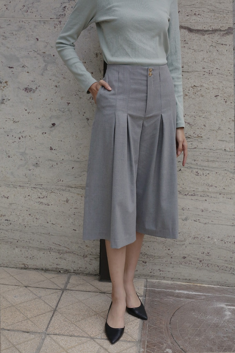 Belted Wide Leg Crop Pants - Quần Ống Rộng Lửng