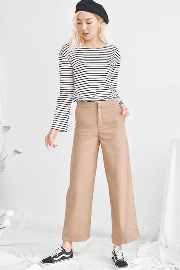 High Waist Wide Leg Pants - Quần Vàng Đậm Ống Loe