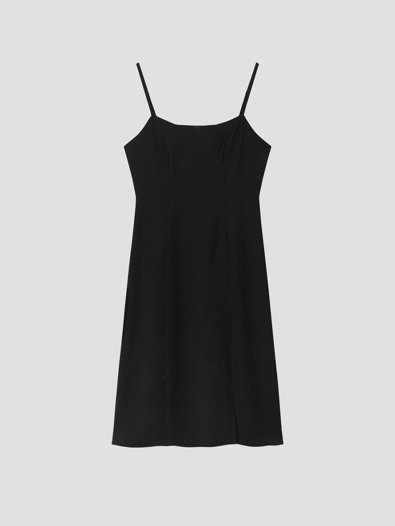 Váy 2 dây đen dáng dài xẻ chân 5