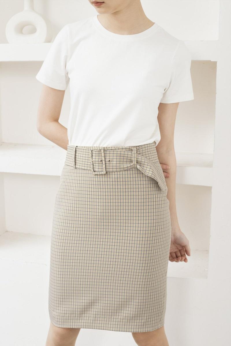 Plaid Pencil Skirt - Váy Bút Chì Caro Có Thắt Lưng