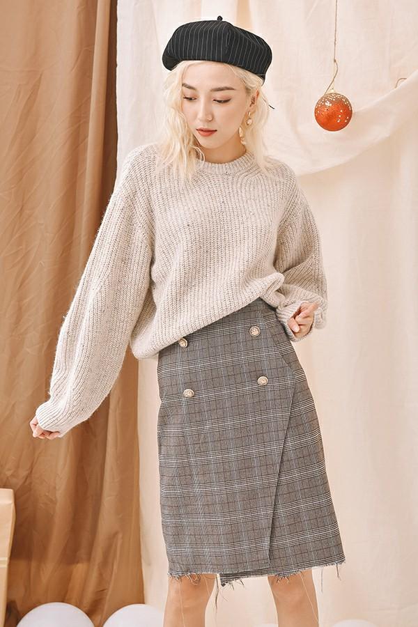 Knit Plaid Pencil Skirt - Váy Bút Chì Len Rách Gấu