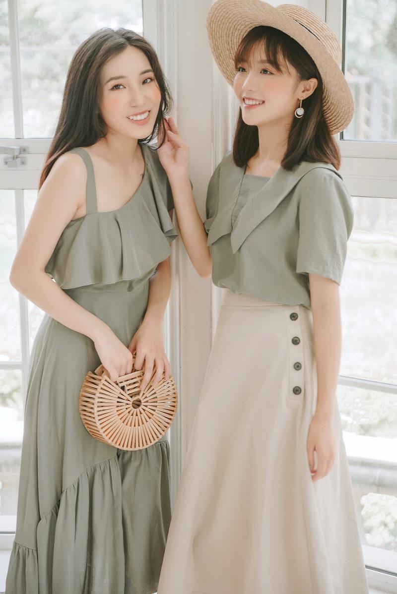 A-line Button Skirt - Váy Chữ A Cúc Sườn Lớn