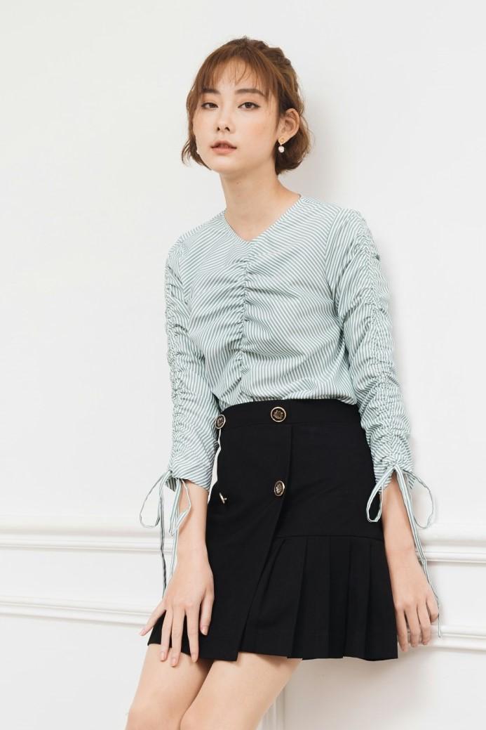 Black Button Pleated Skirt - Váy Chữ A Khaki Xếp Li