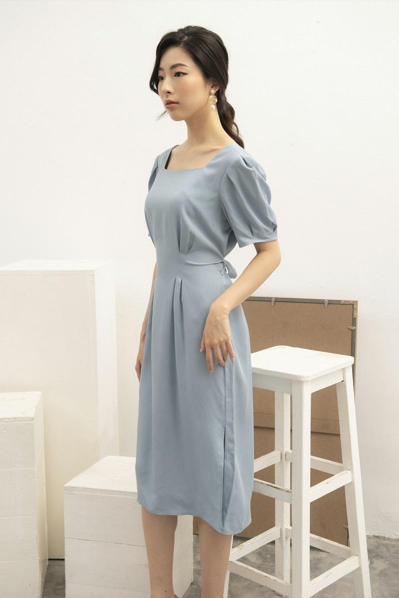 Puff Sleeve Midi Dress - Váy Cổ Vuông Tay Bồng