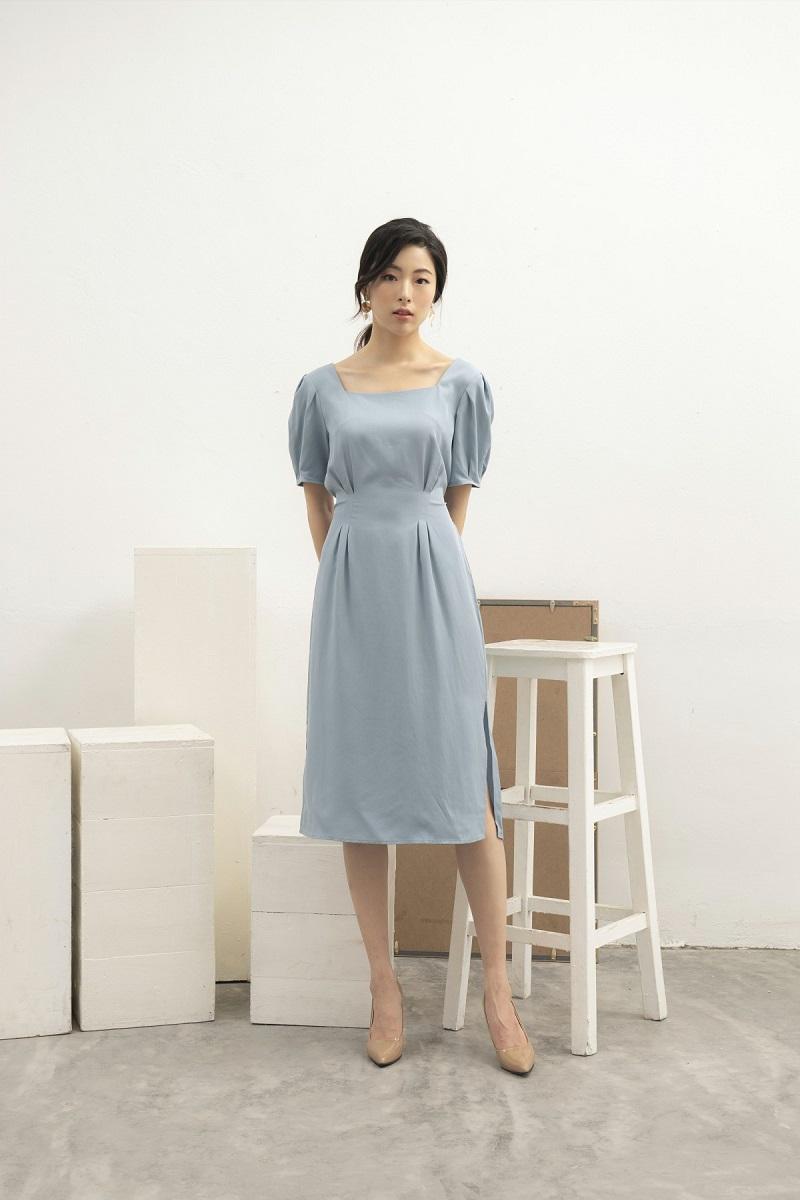 Váy cổ vuông tay bồng 2