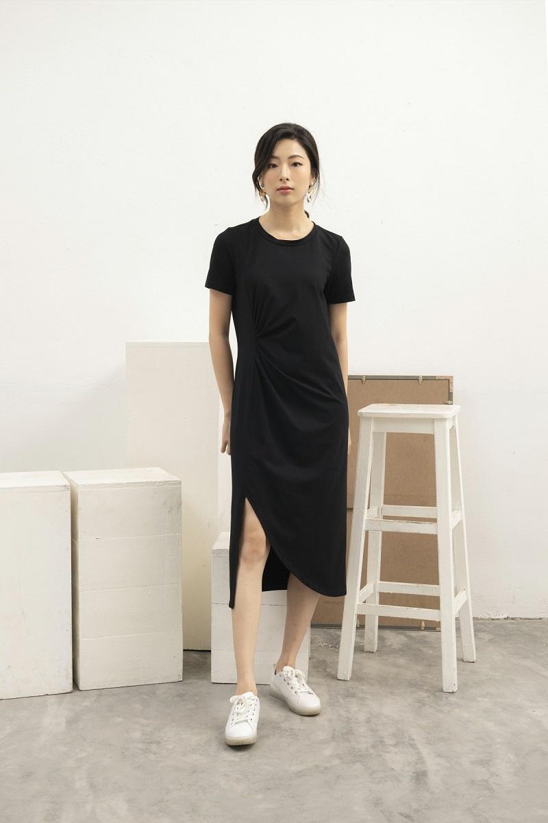 Váy cotton xoắn thân 1