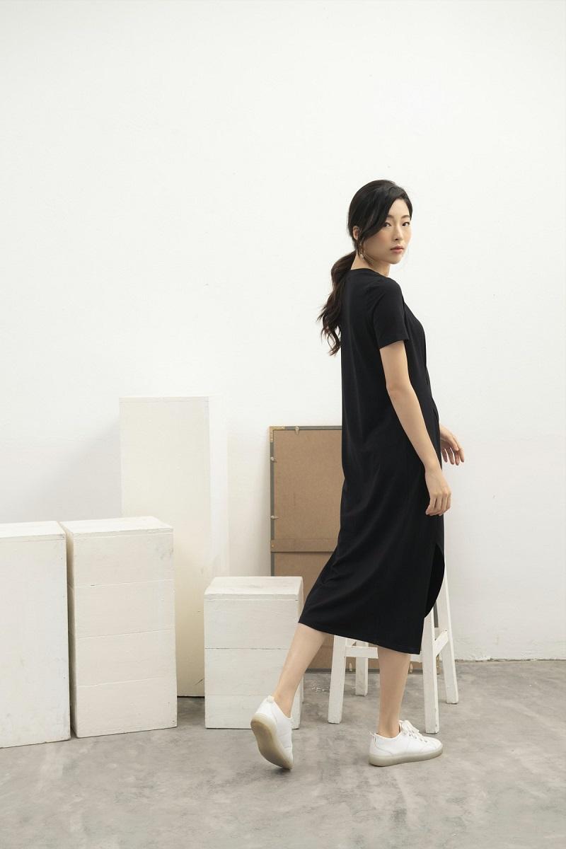 Váy cotton xoắn thân 3