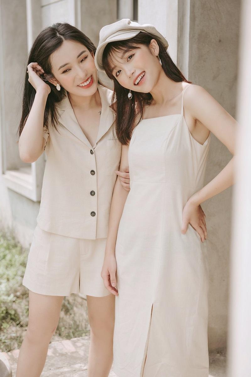Beige Linen Cami Dress - Váy Hai Dây Lanh