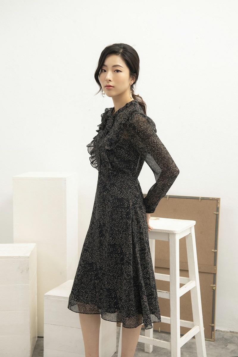 Váy hoa nhí đen buộc nơ 1
