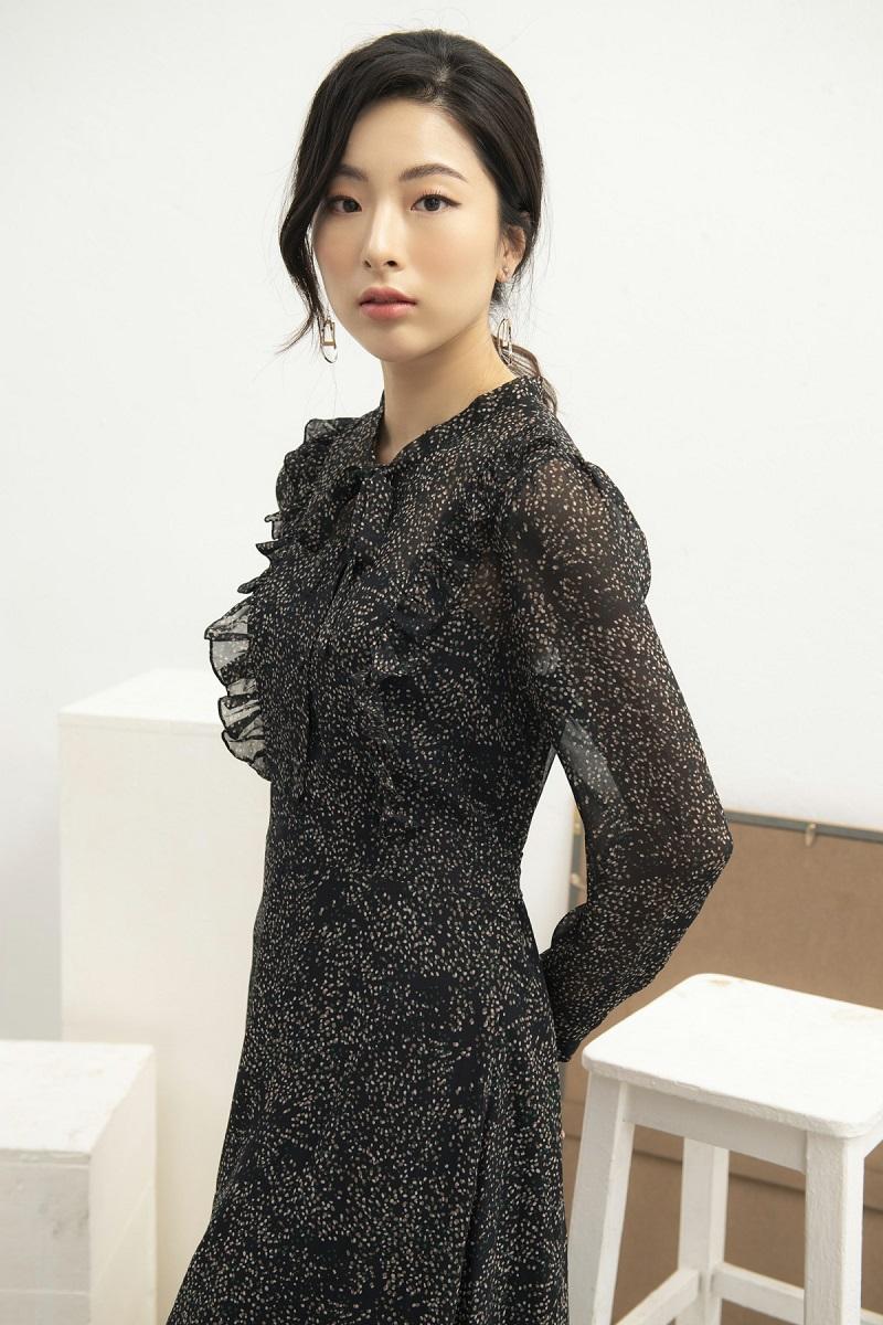 Váy hoa nhí đen buộc nơ 3