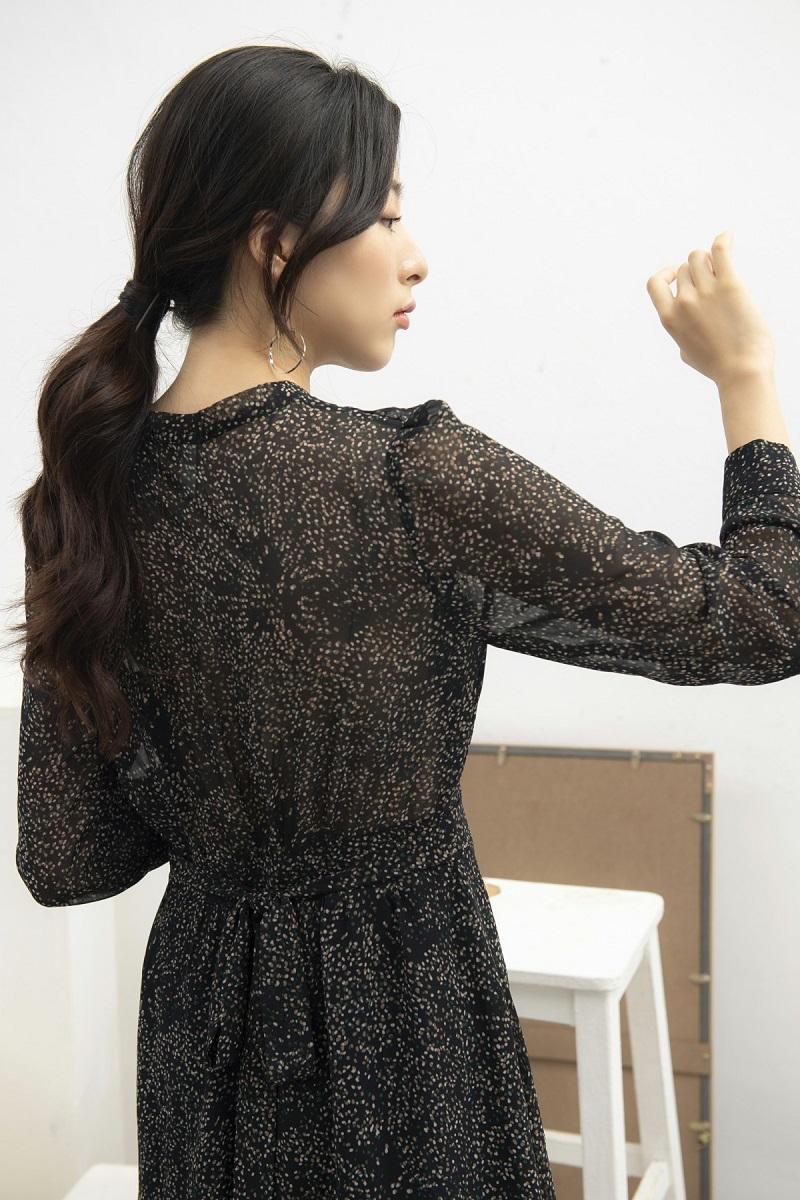 Váy hoa nhí đen buộc nơ 4
