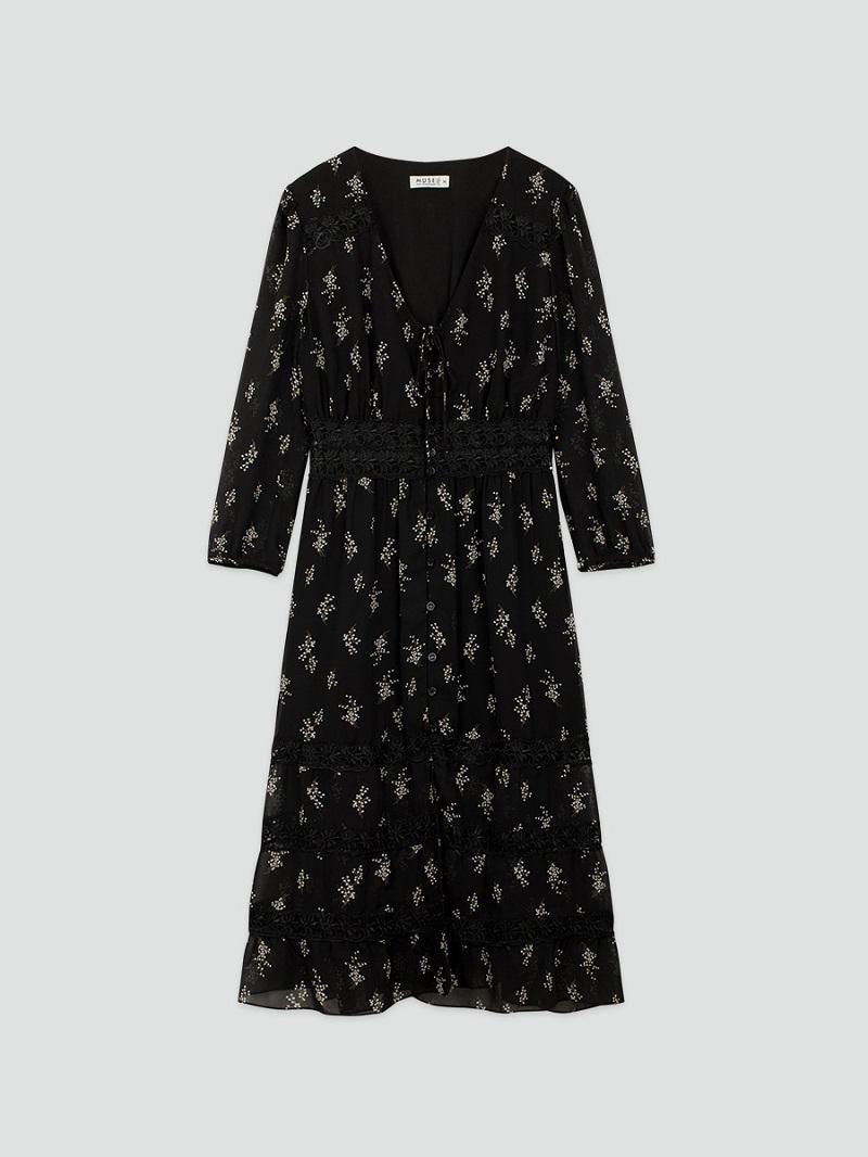 Váy hoa nhí đen buộc nơ 5