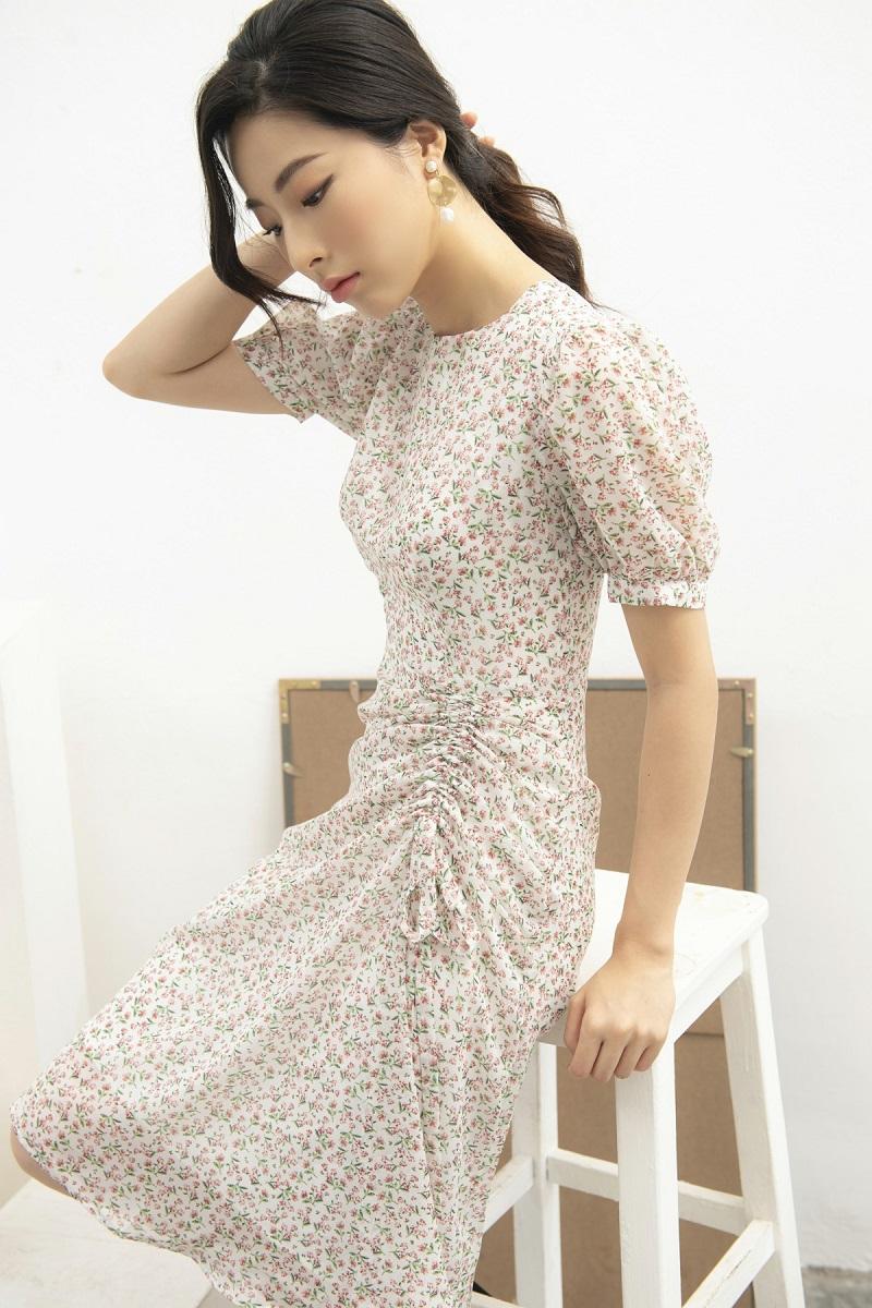 Váy voan hoa nhí rút dây 4