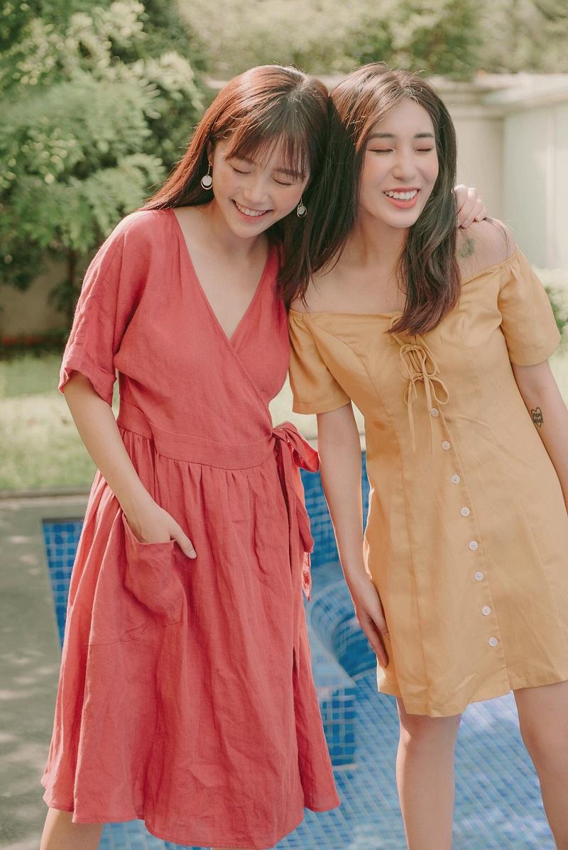 Linen Wrap Dress - Váy Lanh Quấn Eo Buộc Nơ