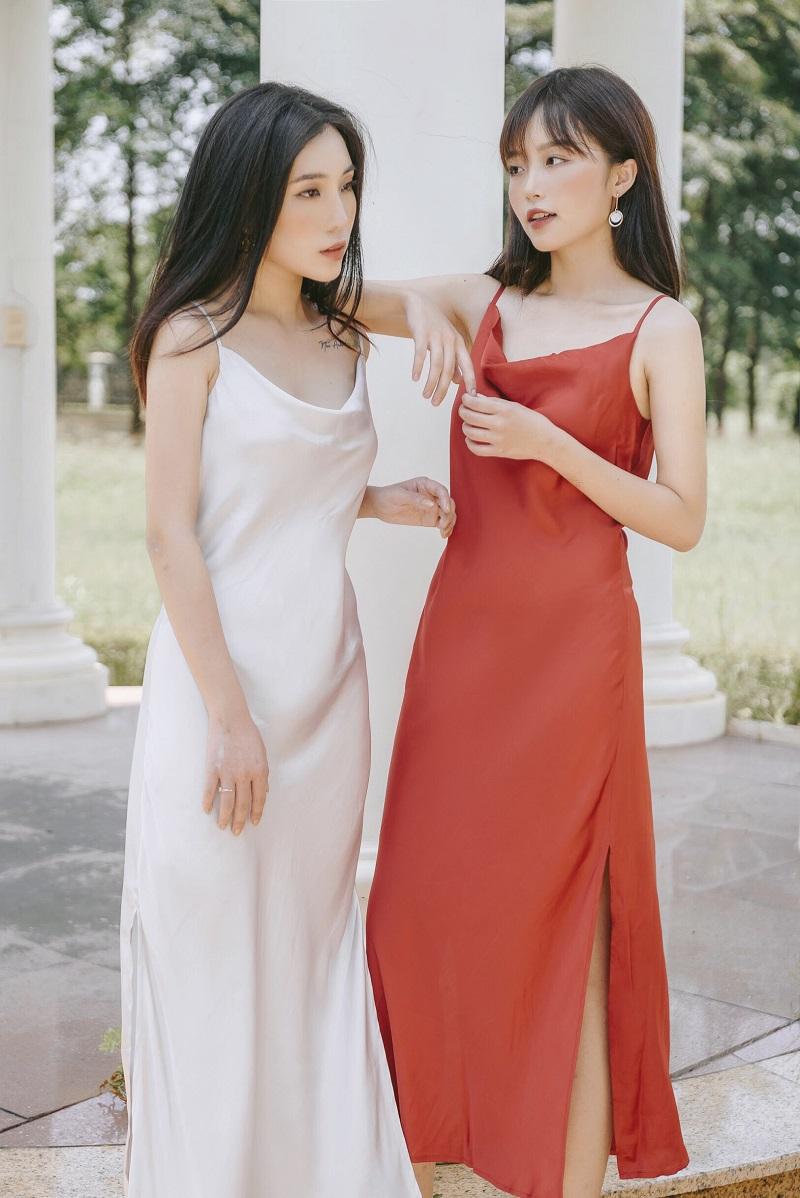 Váy lụa đỏ 1