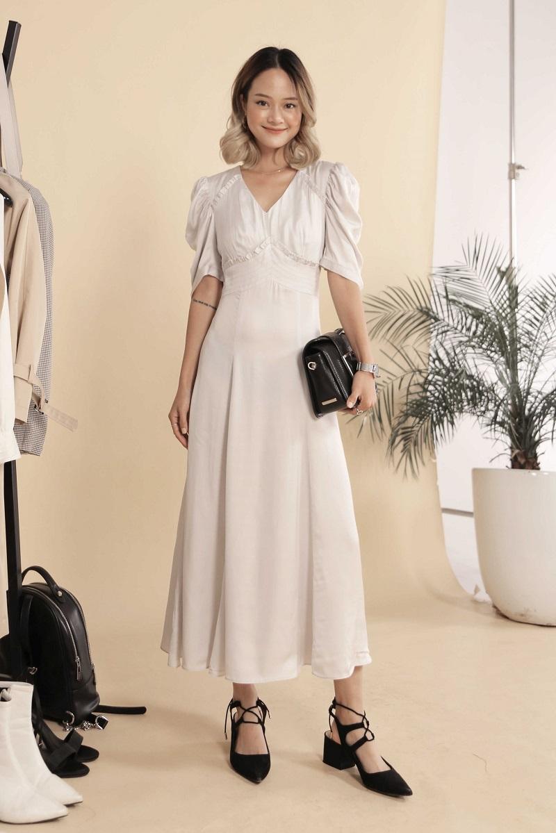 Puff Sleeve Silk Dress - Đầm Lụa Tay Phồng
