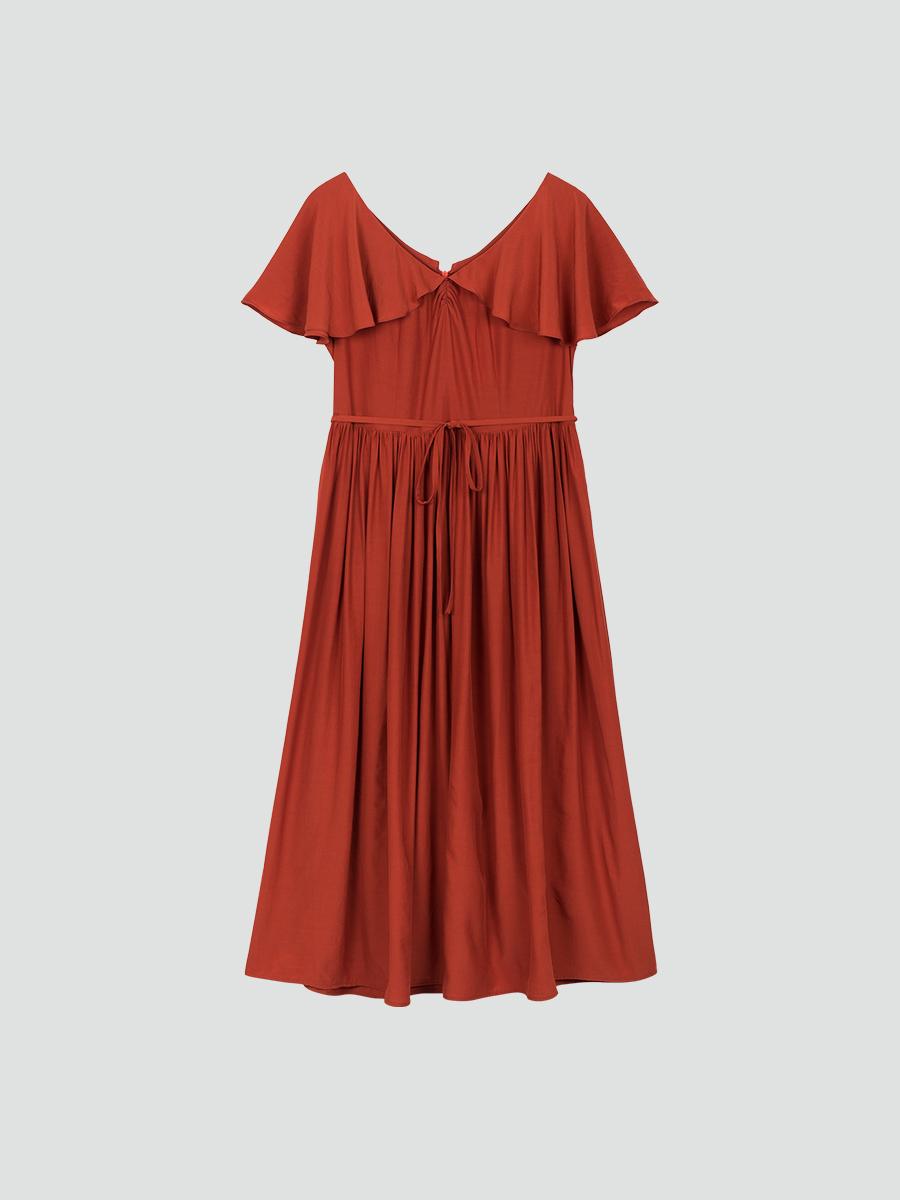 Váy maxi bồng đỏ gạch 3