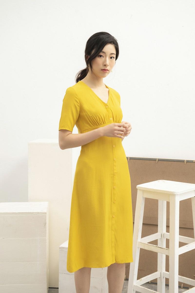 Mustard Maxi Dress - Váy Maxi Cúp Ngực