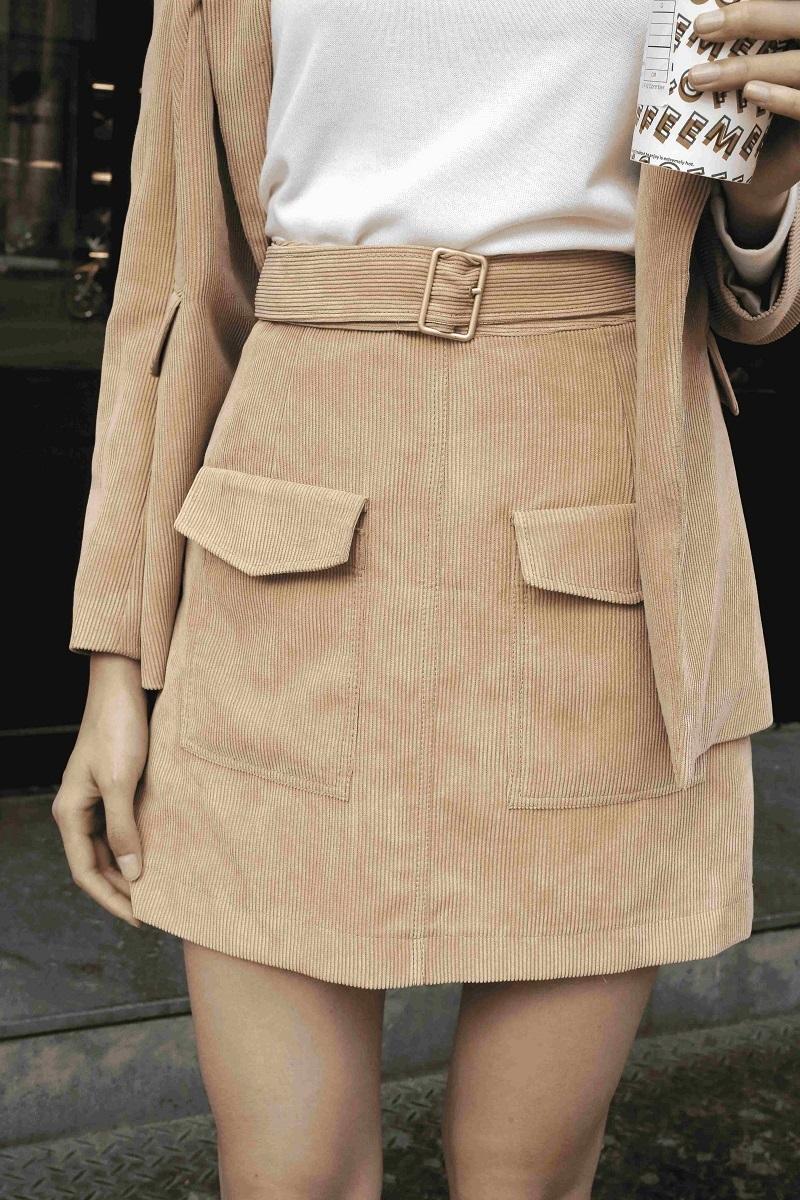 Velvet Skirt With Belt - Váy Nhung Kèm Đai