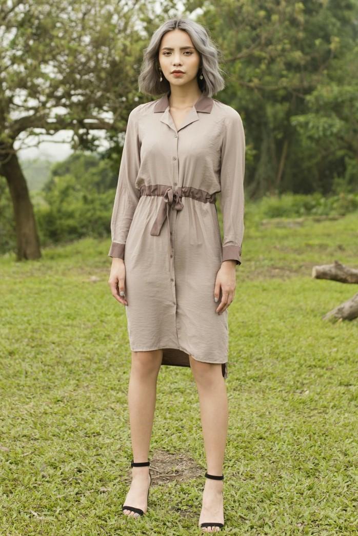 Two-color Ribbon Shirt Dress - Váy Sơ Mi Thân Trước Sau Khác Màu