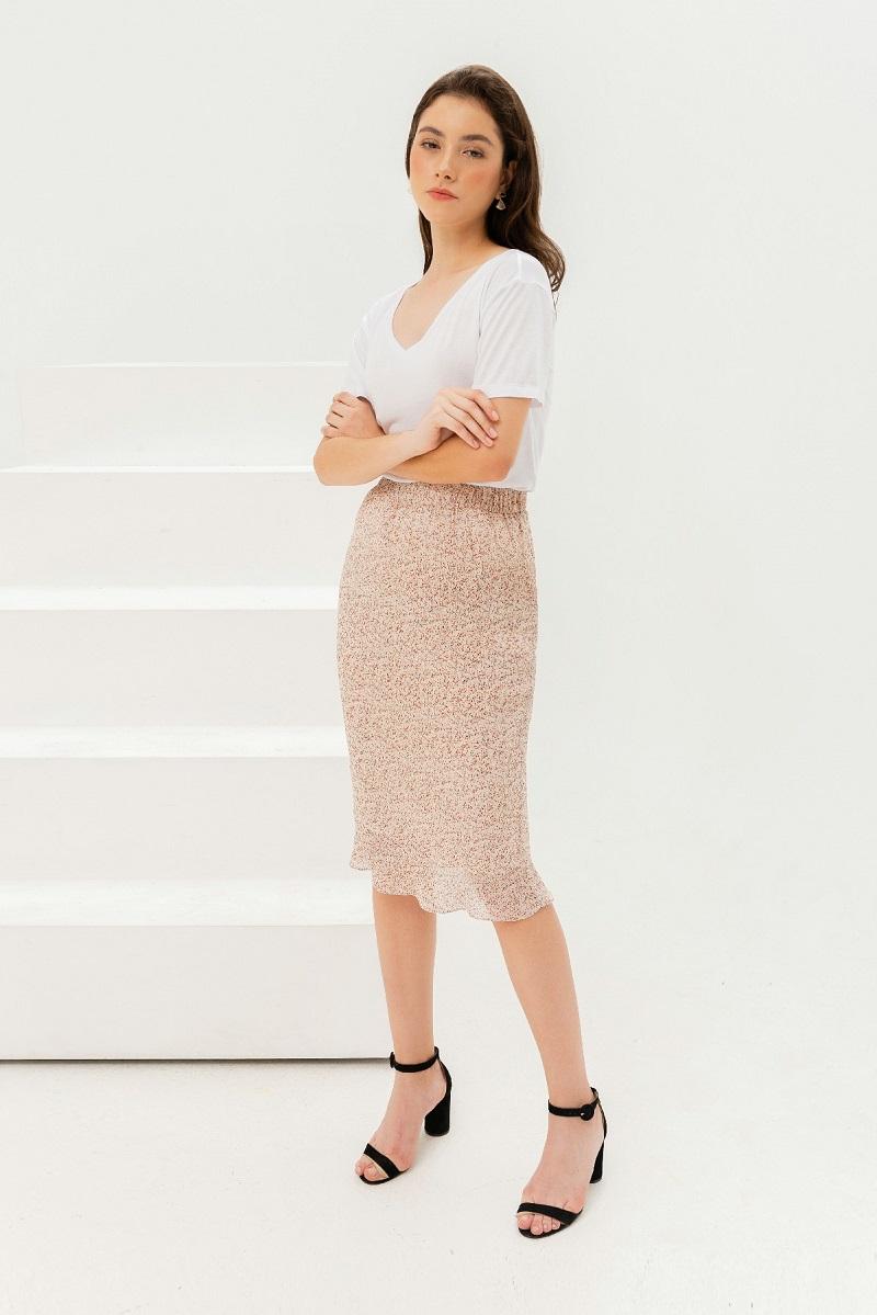 Pencil Floral Skirt - Váy Voan Dáng Bút Chì