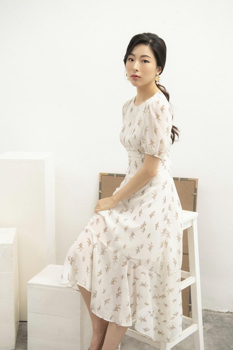 Chiffon Unbalanced Dress - Váy Chiffon Hoa Nhí