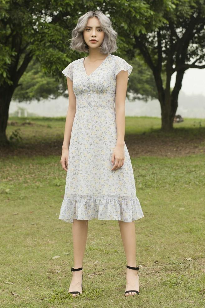Váy voan hoa nhí xanh nhạt 1