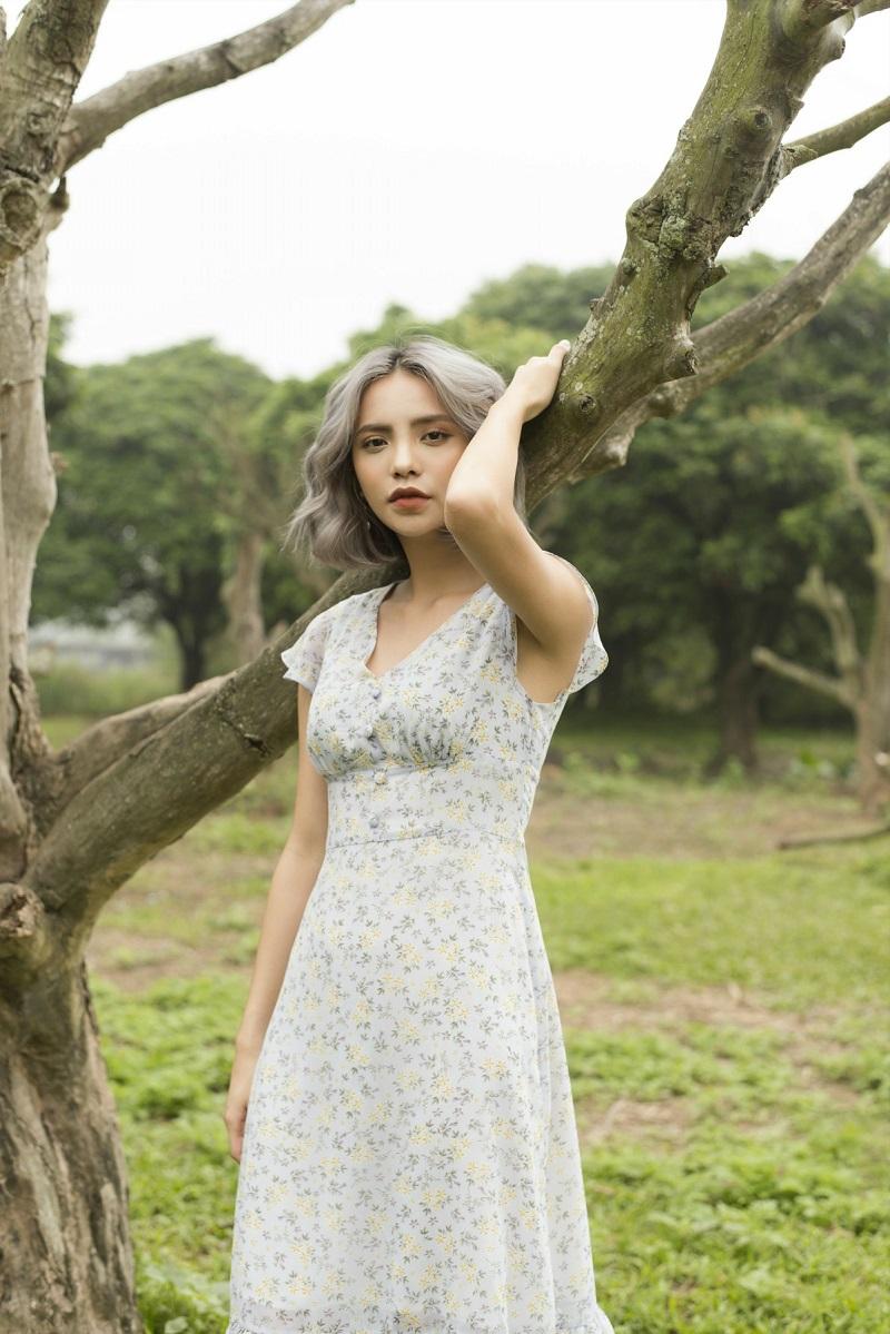Váy voan hoa nhí xanh nhạt 3