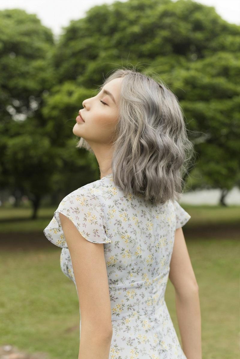 Váy voan hoa nhí xanh nhạt 4