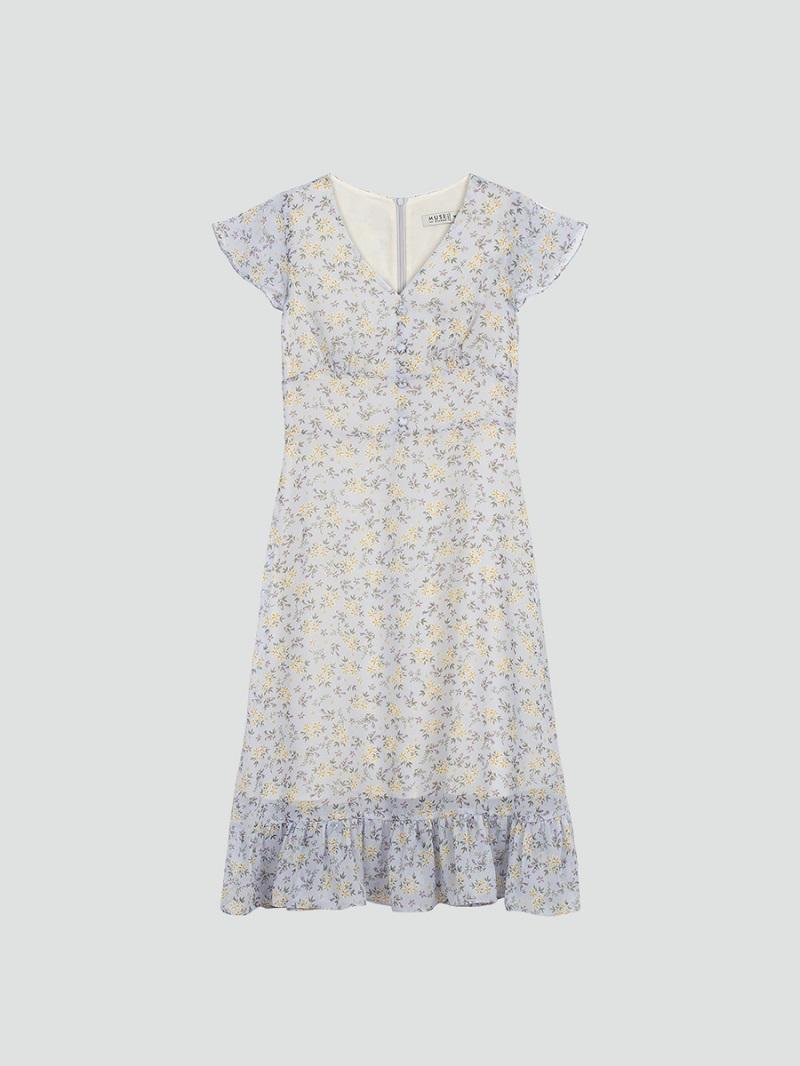 Váy voan hoa nhí xanh nhạt 5