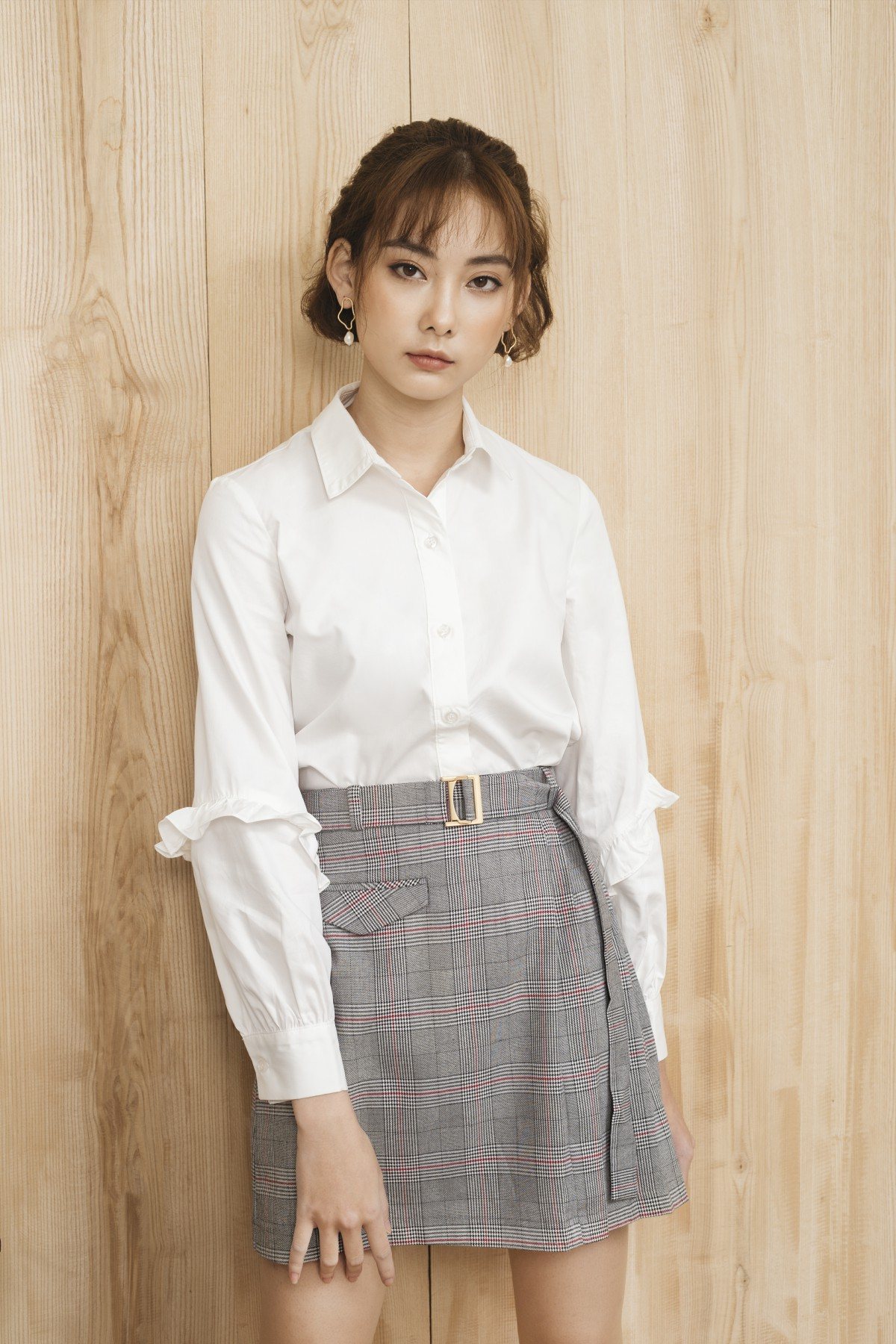 Plaid Pleated Skirt - Váy Kẻ Xếp Ly Đai Kim Loại