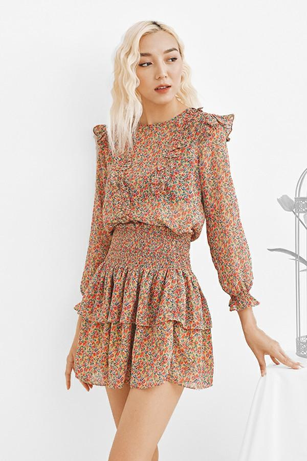 Yellow Floral Ruffle Skirt - Chân Váy Xòe Hoa Nhí