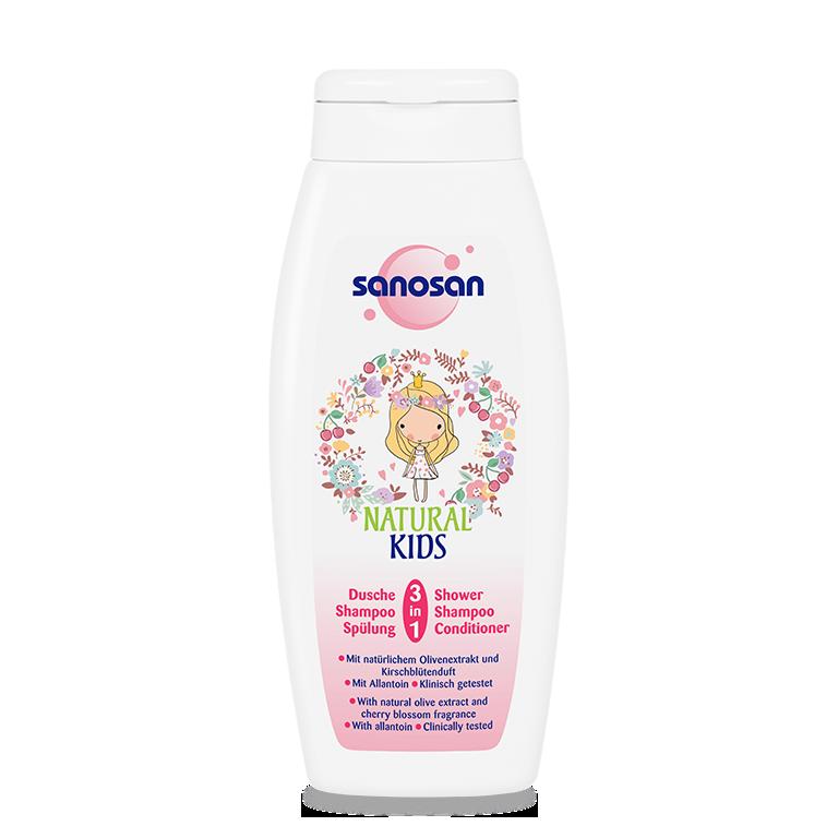 Sữa tắm gội có xả 3in1 Olive dưỡng ẩm hương Cherry Sanosan 250ml