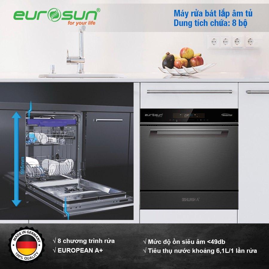 Máy Rửa Chén Eurosun SMS58EU09BT 8 Bộ