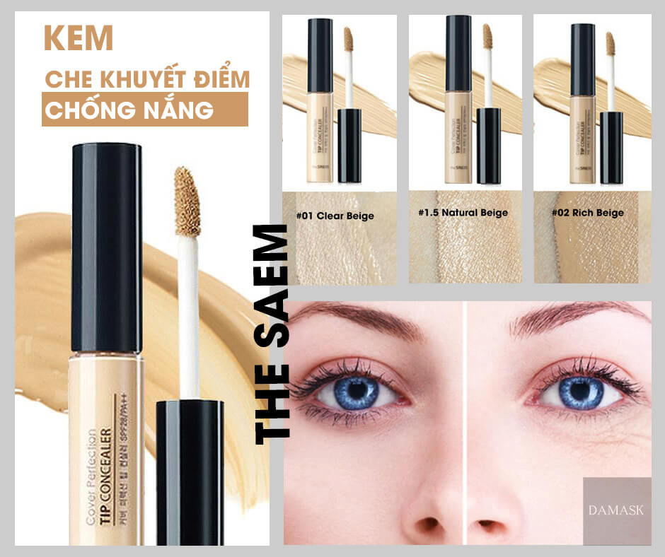 Review Kem Che Khuyết Điểm The Saem Cover Perfection Tip Concealer